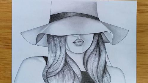 pencil sketch draw drawing hat easy sketches face drawings simple very painting beginners couple