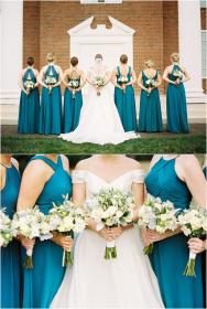 teal dresses bridesmaid ivory bouquets flowers turquoise winter bridesmaids hunter grey colors weddings floral colored jophotoonline peach open