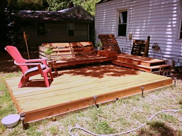 pallets deck pallet decks furniture wooden patio wood outdoor garden plywood cheap area patios diy floor projects decking recycled floating