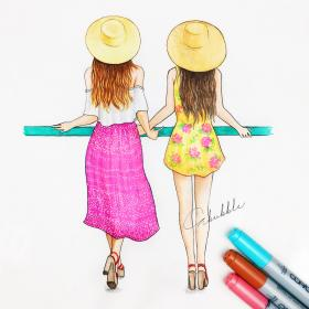 friends friend forever bff drawings drawing bestie cartoon easy bffs friendship draw sketches sketch dream around tegninger travel below comment