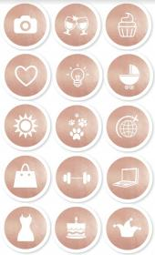 Instagram Highlight Icon Button Rose Gold Lifestyle Set