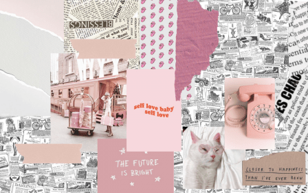 laptop pink desktop collage wallpapers aesthetic backgrounds cute mac computer print