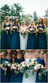 teal dark bridesmaid dresses pink flowers bouquets bridesmaids colors bridal fall floral matching pastel turquoise weddings borrowedandblue parties attire october