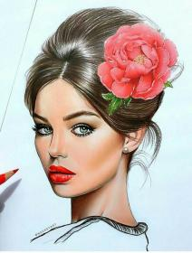 drawing pencil face drawings sketches hair form faces mantilla silvia スケッチ politeness colored sketch woman illustration flowers draw flower アート