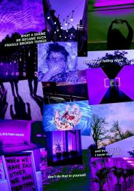 aesthetic sad collage purple quotes emoji wallpapers cute