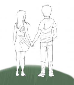 holding hands drawing couple couples anime boy sketch hold sketches draw drawings cartoon drawingartpedia tutorials getdrawings manga walking paintingvalley sketching