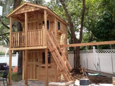 playhouse swing backyard houses slide shed tree story storage sheds floor build fort structure plans play attached playhouses diy garden
