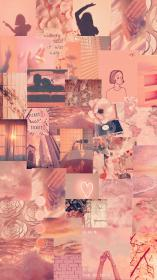 collage aesthetic peach collages retro flower pastel bright aesthetics posters rosegold flowers