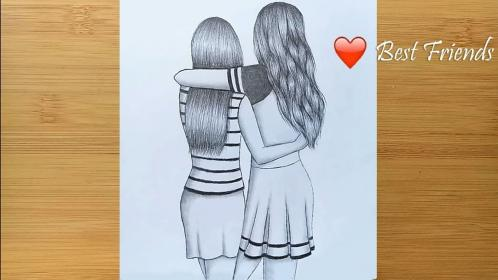 Best friends pencil Sketch Tutorial How To Draw Two