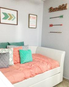 turquoise gray and gold bedroom