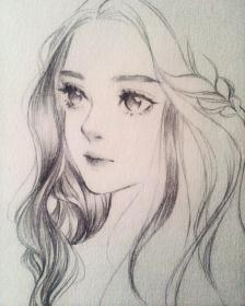 pencil drawings sketches anime portrait drawing realistic down let female