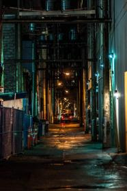 A dark downtown alley in Vancouver Urban landscape, City