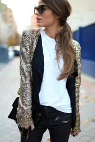 gold sequin jacket jeans outfit lookastic blazer glitter