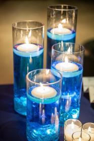 floating centerpieces wedding candle candles water mesa azul centros para tea lights boda decorations bodas navidad colored flowers dyed shower