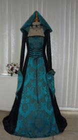 medieval teal hooded gothic renaissance goth handfasting gowns dawnsmedievaldresses costume