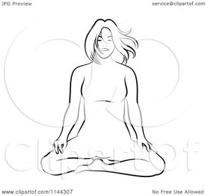 Clipart of a Black and White Line Drawing of a Woman Doing