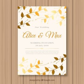 wedding invitation with golden leaves 23 2147701192
