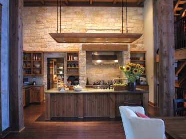 kitchen wall stone rustic neutral shelves walled designs decor walls wood modern kitchens decorating cabinets wooden interior feature open living