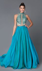 dress teal prom piece beaded gown long ball wedding mf dresses low bodice lace links quick open front unfortunately looking