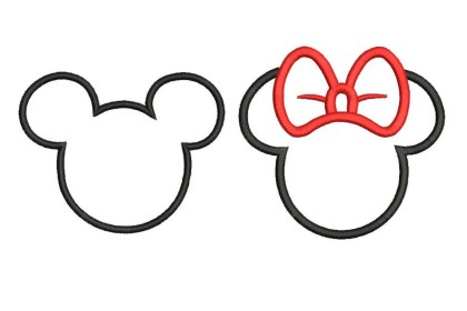 minnie mouse outline mickey designs embroidery machine