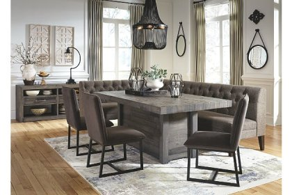 bench dining corner ashley tripton d530 nook signature ashleyfurniture benches gray sets homestore mayflyn breakfast upholstered dinner tables lanzhome chairs