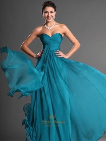 teal dresses bridesmaid strapless sweetheart chiffon ruched bodice dress