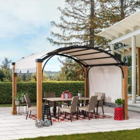 Sunjoy 10 ft W x 12 ft L x 8 ft 8 in Natural Wood Brown