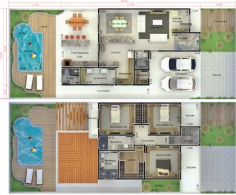 Floor plan with pool and deck Plans of Houses, Models