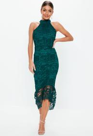 Teal High Neck Lace Midi Dress Missguided Ireland