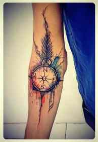 compass tattoos designs tattoo forearm arm feather meaningful watercolor cool idea menstattooideas guys colored amazing awesome