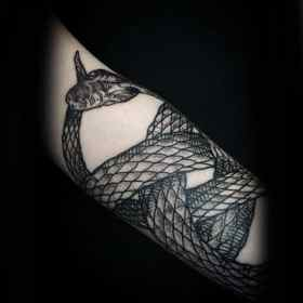 ouroboros tattoo snake forearm coiled designs tattoos cool male circular symbol acceptance phoenix mens says ink beginning end
