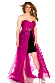 Classic Strapless Sweetheart Black Sequined Magenta