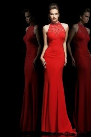 Formal Slim High Neck Long Red Chiffon Lace See Through