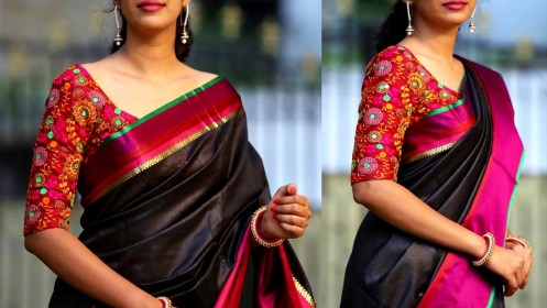 blouse sarees pattu work silk designs mirror latest trendy saree plain models sleeves wedding simple elbow length blouses neck designer