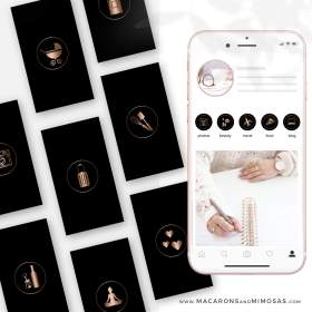 instagram covers gold rose highlight marble highlights icons story ig