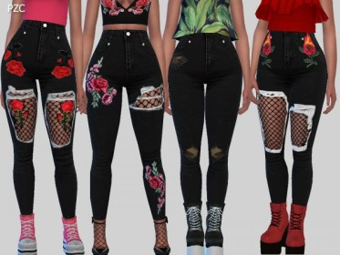 The Sims Resource: Nasty Girl Black Denim Jeans by