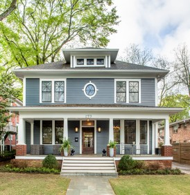 exterior traditional american foursquare homes atlanta story colors gray houzz bathroom elegant roof neutral designers outdoor save building ideabook question