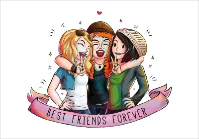 friends cute three vector together happy friend clipart friendship rekindle relationship