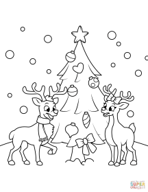 2 reindeers near the christmas tree coloring page