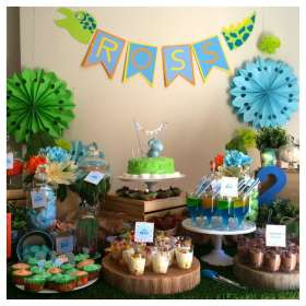 dinosaur party birthday baby candy dessert buffet bar theme 2nd boys dinosaurs catchmyparty orange sweet table dino boy bits pieces
