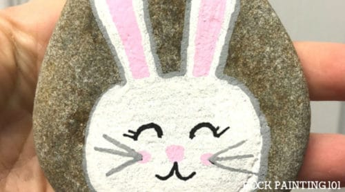 Adorable bunny rock painting tutorial for beginners