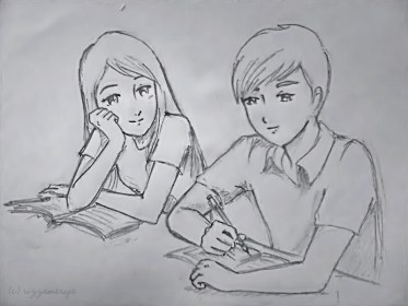 sketches pencil drawings easy cute couple drawing sad couples sketch simple rizzamaruja patel karan friend sitting staring while lonely rima