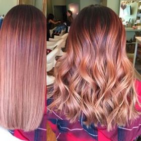 Rose Gold Hair With Dark Roots Novocom Top
