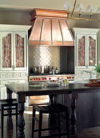 range kitchen copper hood french cabinets kitchens curtains country hoods cabinet european homes built ranges living island antique stove elements