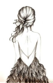 drawing drawings pretty hair sketches illustration sketch draw dresses anime pencil canadagoose nice onlinestore woman feather cool sketching feathers side