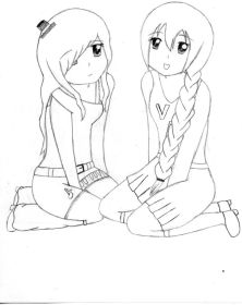 friends anime drawing coloring pages drawings bff friend hugging easy cute draw deviantart utau nana bffs sketches sketch cool friendship