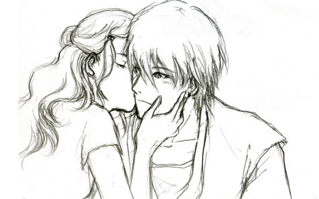 anime boy sketch drawing couple sketches easy pencil girlfriend drawings boyfriend romantic wallpapers sad friendship 3d doll hug hugging paintingvalley