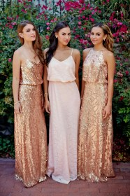 copper dresses bridesmaid theme gold colour rose bridesmaids vow chic sequin gown pink outfits sequined metallic donna morgan courtesy bridal