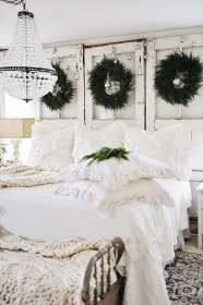farmhouse bedroom christmas decor cozy rustic cottage bedrooms inspiration chic shabby simple master holiday furniture