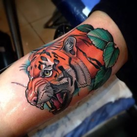 bicep inner tattoo tattoos biceps arm tiger designs cool mens guys clock eye colorful face japanese spectacular pain